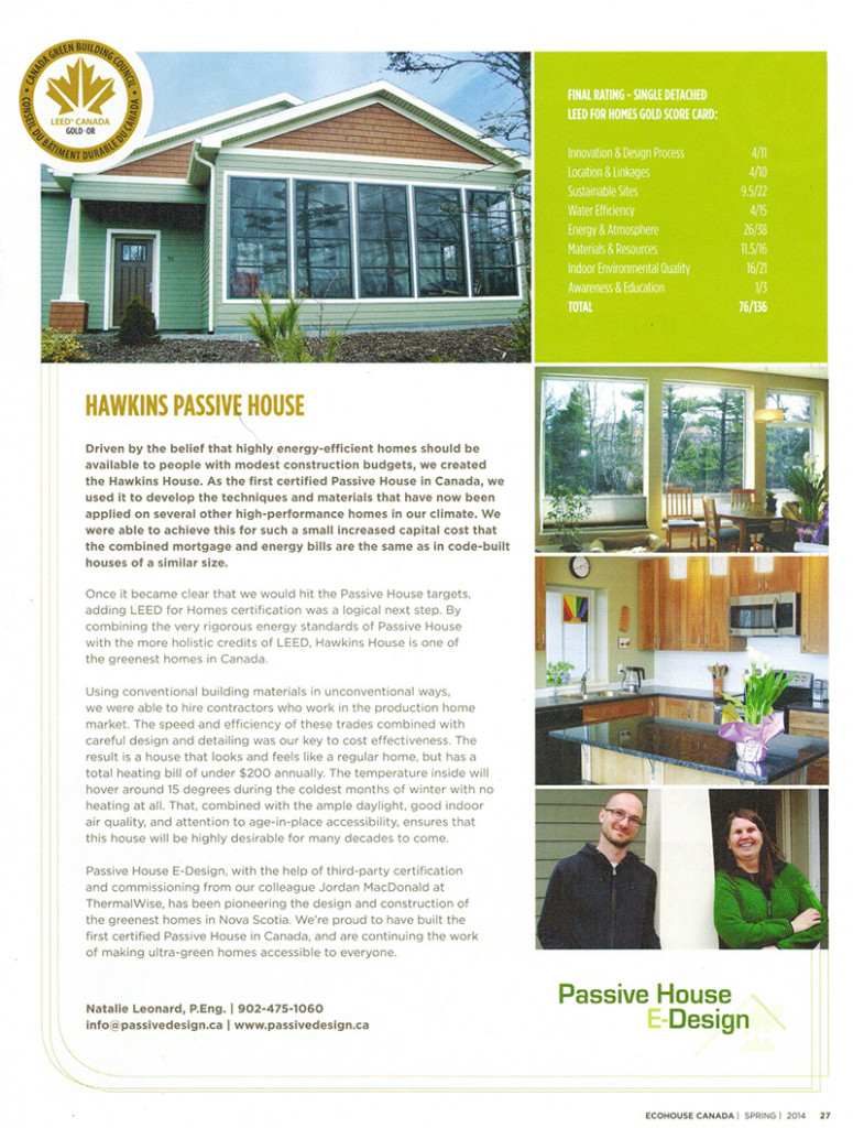 Passive House E-Design Featured in Eco House Magazine